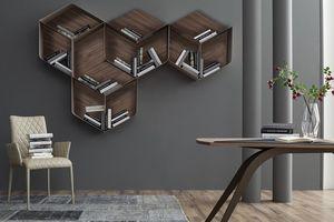PANGEA, Estantería modular, compuesto por cubos de madera y metal