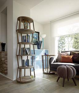 Raven estantería ovalada, Librería de madera moderna, con base ovalada