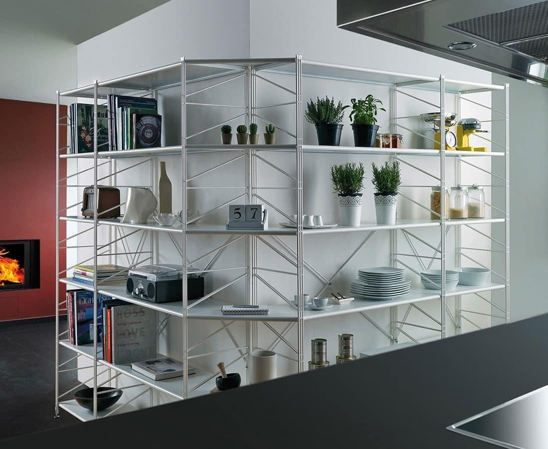 Socrate, Estantería de metal con estantes de vidrio templado