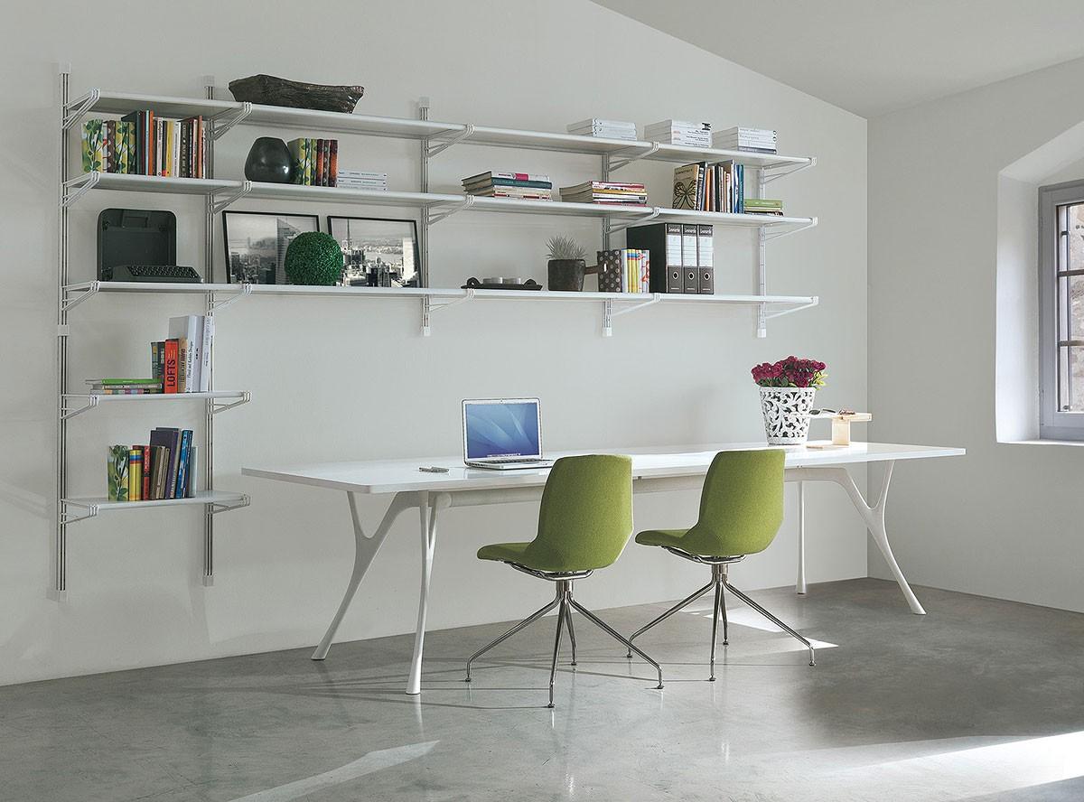 Socrate home-office, Biblioteca en metal y vidrio, varios acabados