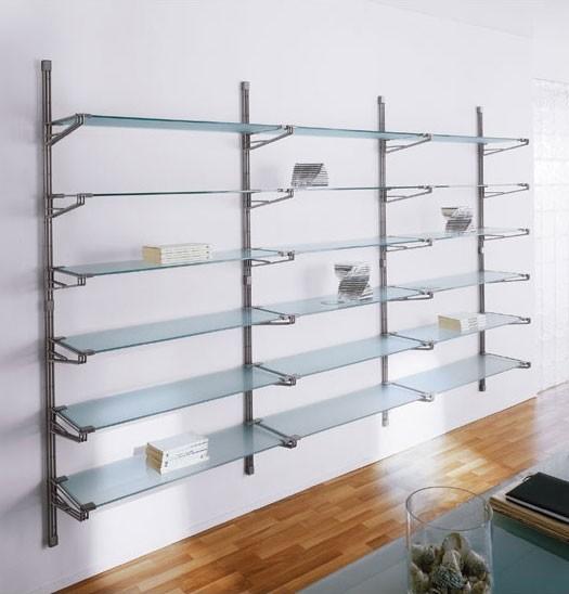 Socrate wall, Estantería modular de pared, estantes de vidrio