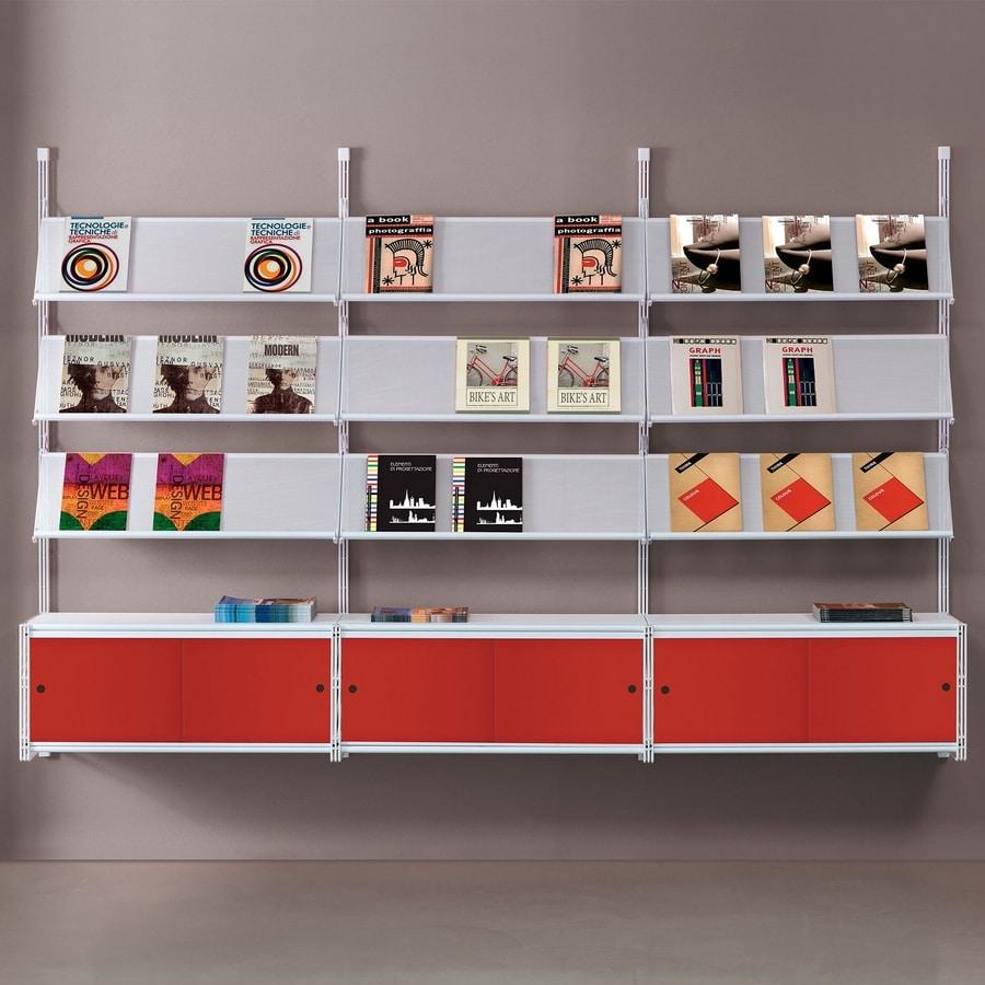Socrate wall 2, Estantería de pared con estantes de vidrio, varios accesorios