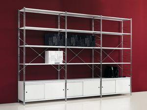 Socrate white, Biblioteca en estantes de metal pintado