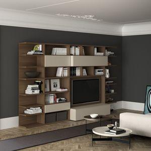 Spazioteca SP011, Estantería moderna de madera con el espacio de televisión
