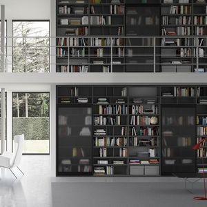 Spazioteca SP018, Estantería modular, en estilo moderno, para la oficina