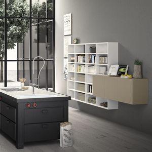 Spazioteca SP019, Estantería modular de madera, hecho a medida, para la oficina