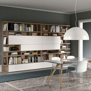 Spazioteca SP020, Estantería modular moderna de madera, personalizable