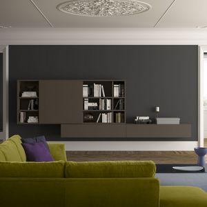 Spazioteca SP024, Estantería de pared moderna de madera, de estilo contemporáneo