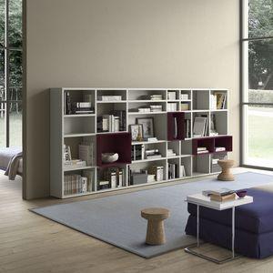 Spazioteca SP027, Boookcase modulares de madera, con diferentes tamaños de cuadro