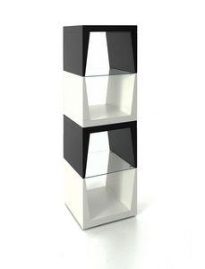 Totem, Columna de objetos con estantes de vidrio