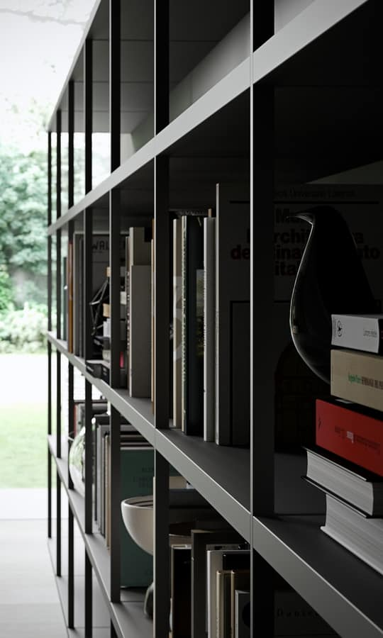 WALLBOX comp.01, Estantes modernos, estructura básica y funcional