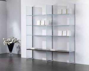Glassystem COM/GS21, Composición de vidrio, estante para libros, escaparate, casa y tienda