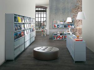 Socrate shops, Estantes modulares en acero pintado, para tiendas