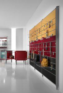 Contemporary - unidad de pared para tienda de accesorios, Expositor montado en la pared con ganchos o estantes