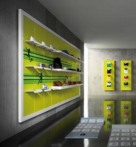 Revolution - unidad de pared para tienda de deporte, Estantería de pared para tiendas de deportes