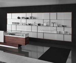 Revolution - unidad de pared para tiendas de regalos, Unidad de visualización de pared con estantes de vidrio