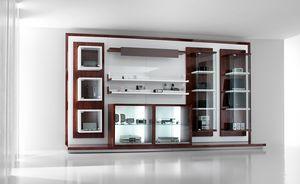 Revolution: unidades de visualización para tiendas telefónicas y de alta fidelidad, Muebles de expositor para tiendas, con vitrinas y estantes