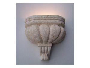 Agata, Lámpara Applique en Vicenza piedra blanca, luz incandescente