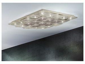 Alaska ceiling lamp, Iluminación de techo romboidal en metal y vidrio, varios acabados