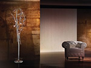 Ametista floor lamp, Lámpara de pie moderna con difusores crujido vidrio soplado