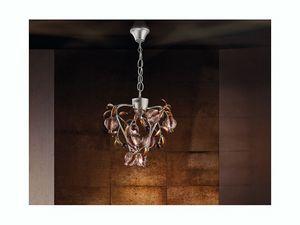 Ametista hanging lamp, Acabado color platino Chandelier, vidrio soplado crujido