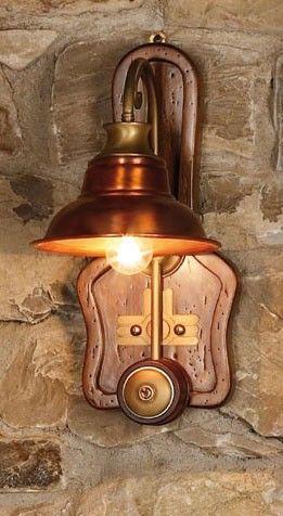 Art. SL 137, Lámpara de pared hecha de madera y cobre, estilo de país
