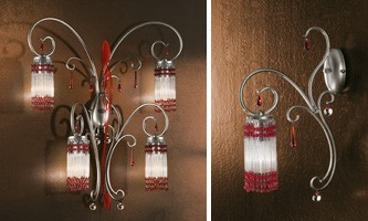 Casanova applique, Apliques con colgantes de Murano, accesorios en varios colores