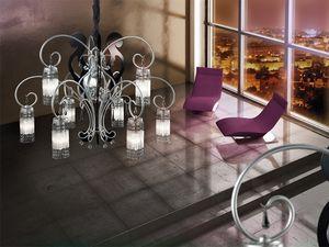 Casanova chandelier, Araña de hierro forjado y lacado plata antigua