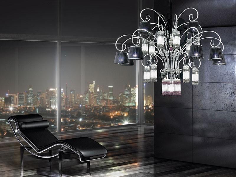 Casinò chandelier, Lámpara moderna con 25 luces, difusores de organza