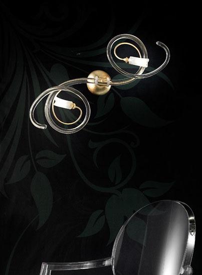 Chic applique, Apliques moderno con rollos suaves en cristal de Murano