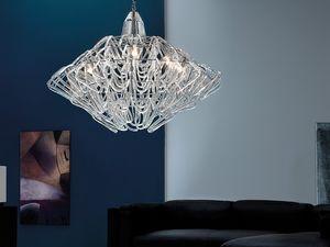 Diamante chandelier, Lámpara de suspensión de altura regulable, en cristal de Murano