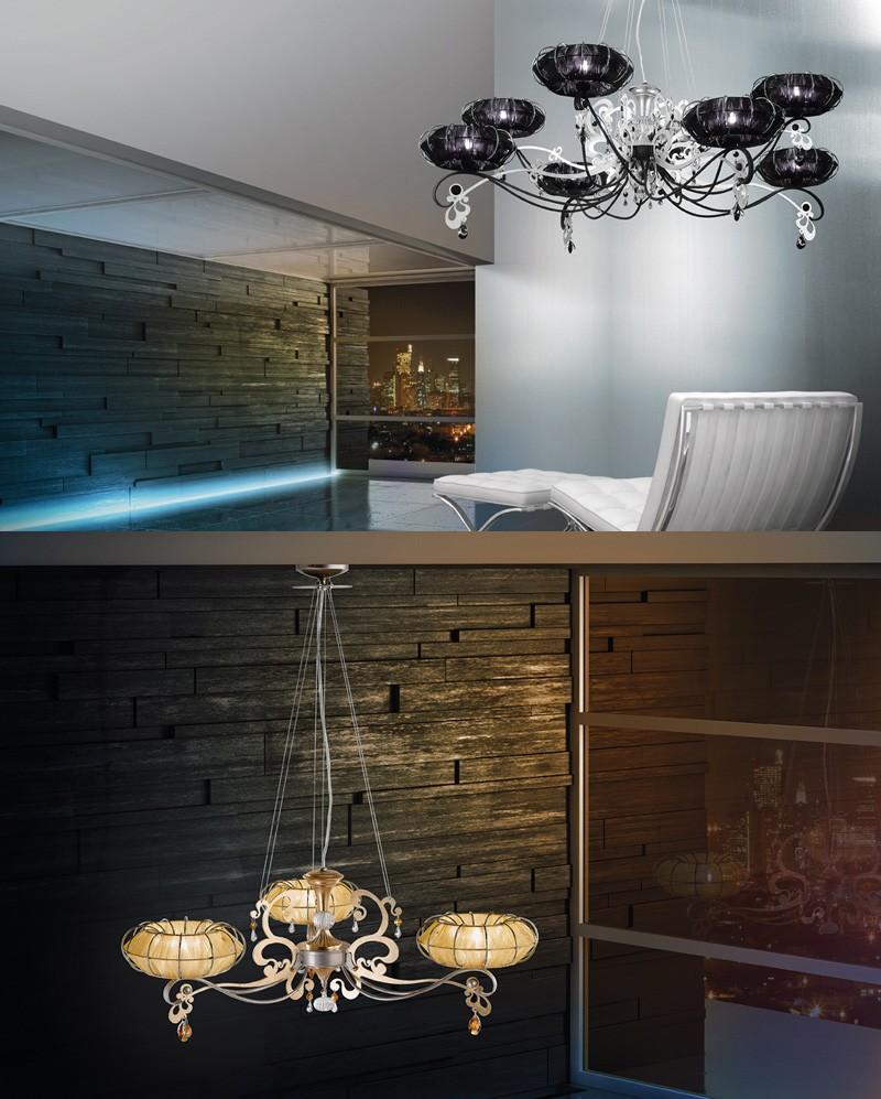 Dream chandelier, Lámpara con difusores en organza y pedrería de Swarovsky