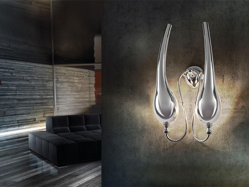 Ego applique, Lámpara de pared en latón con 2 luces, de estilo clásico