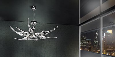 Ego chandelier, Araña de latón con difusores de vidrio soplado