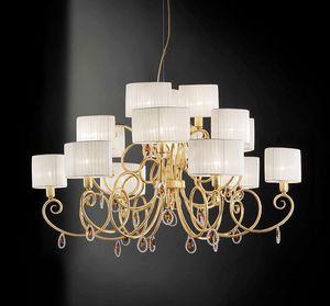 Elena ceiling lamp, Lámpara de techo con colgantes de cristal