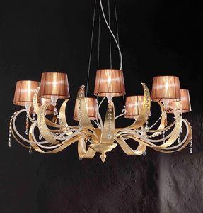 Erica ceiling lamp, Lámpara colgante en hierro con 8 luz, estilo moderno