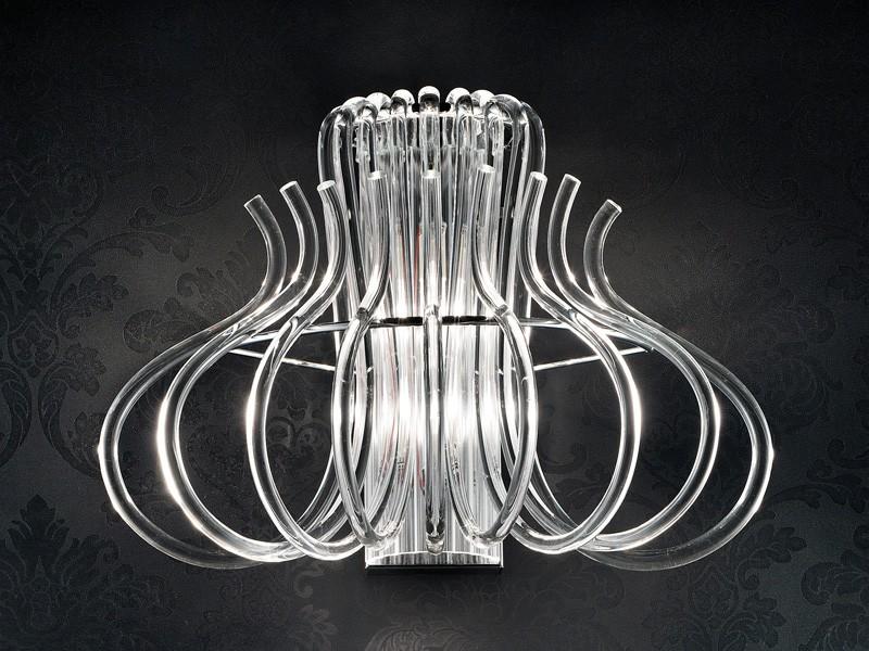 Essenzia applique, Apliques Moderno de metal cromado y cristal de Murano