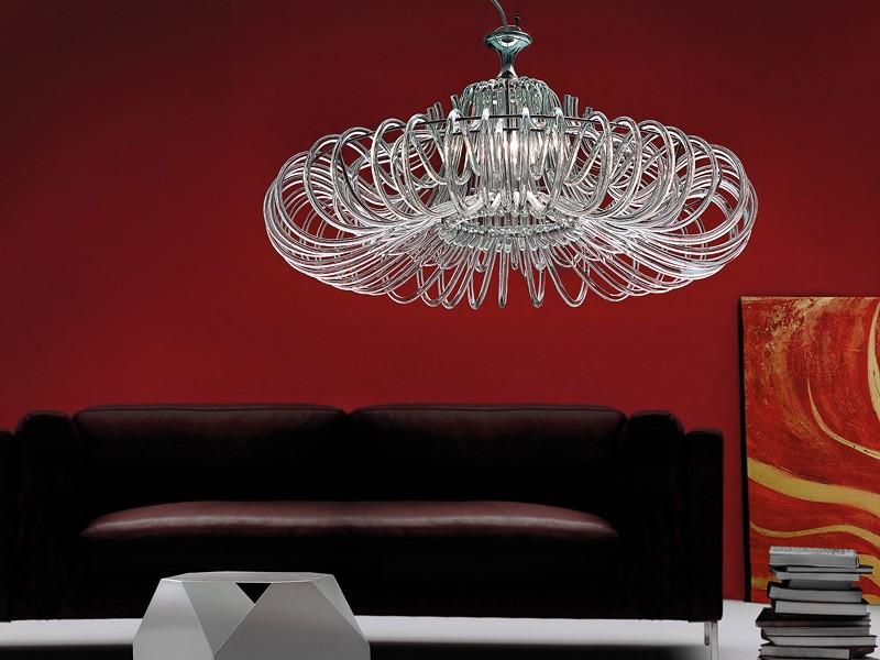 Essenzia chandelier, Lámpara con difusores de cristal, para los clásicos salones