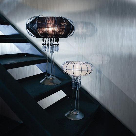 Full Moon table lamp, Lámpara con estructura de metal, varios acabados