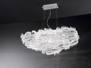 Gloria 1360/S7L, Lámpara en vidrio y metal lacado, para villas modernas