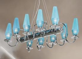 Karma chandelier, Lámpara con metal cromado y el marco de latón