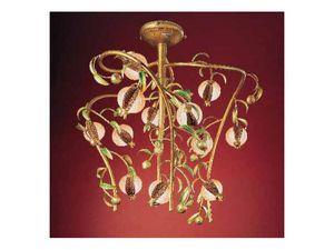 Melograno araña, Araña de estilo en metal dorado y vidrio craquelado