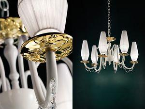 Milady chandelier, Lámpara con las de Bobeches vidrio metalizadas