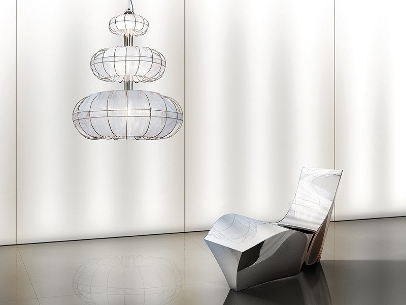 Moon chandelier, Lámpara moderna con luces en 3 niveles, formas simples