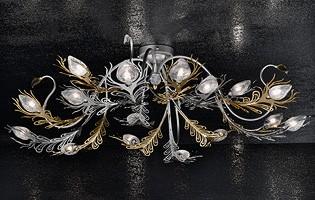 Musa ceiling lamp, Lámpara de pared en oro hierro pintado y cromo