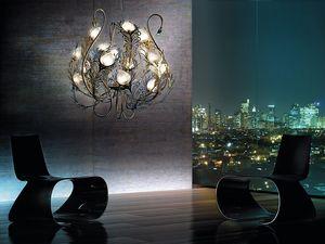 Musa chandelier, Araña de metal, difusores en cristal de Murano