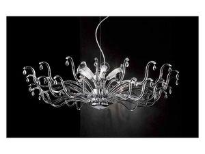 Pandora araña, Lámpara con elementos modulares de cristal y colgantes Sw