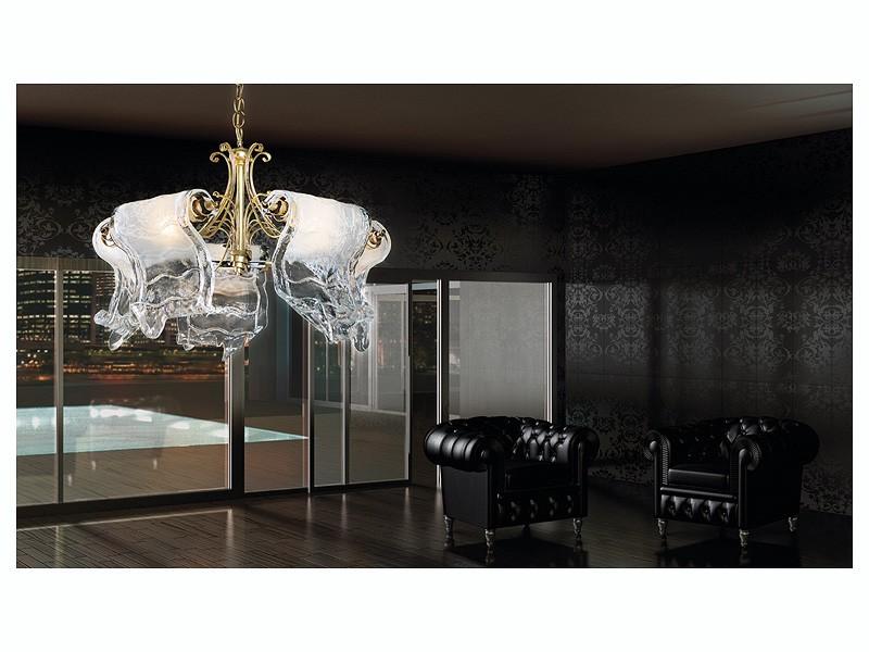 Poeme chandelier, Lámpara con 5 luces con difusores en cristal de Murano