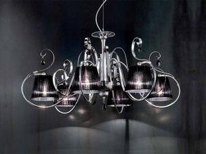 Romantica araña, Lámpara con difusores en organza, de estilo clásico