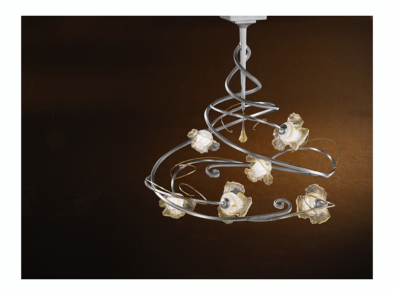 Rose ceiling lamp, Lámpara moderna con 6 luces y colgante central de vidrio